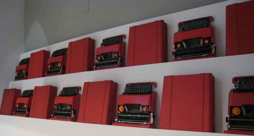 A row of Sottsass-designed Olivetti Valentine typewriters
