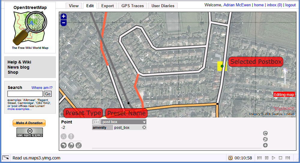 Screenshot of OSM adding a post box in Rainford