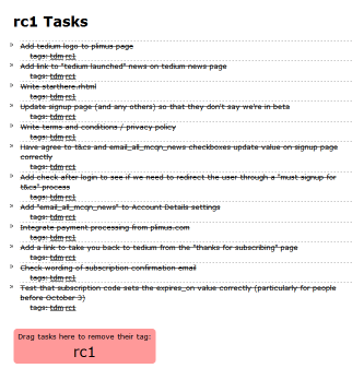 Screenshot of my tedium session for tag 'rc1'